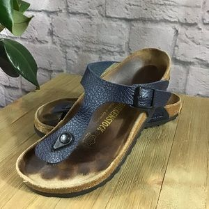 🍃 Birkenstock blue leather Gizeh thong sandals